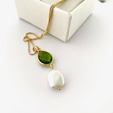 August Peridot Keshi Pearl Gold Drop Necklace