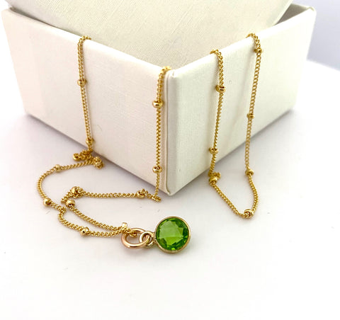 August Peridot Gold Necklace