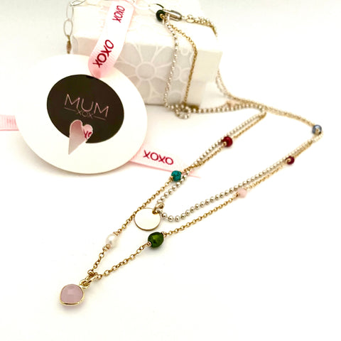Leoni& Vonk heart layered necklace photogrpahed near Mother's Day packaging