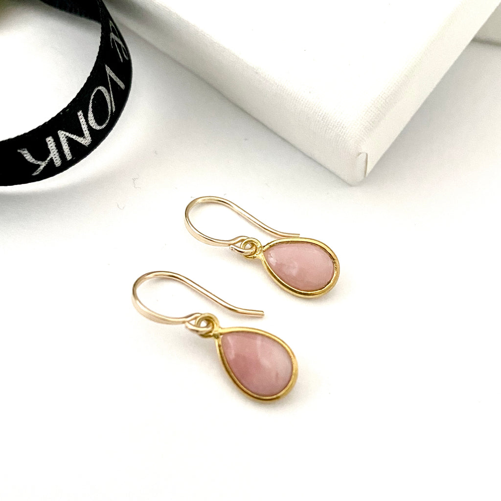 Leoni & Vonk pink opal October birthstone earrings photographed on a white background