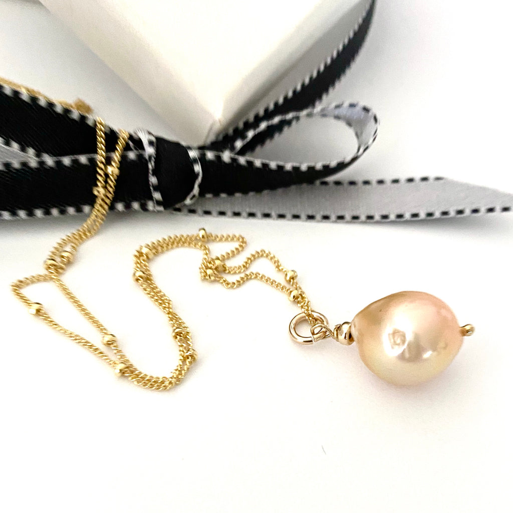 Pastel Pink Pearl Necklace