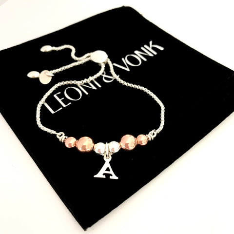 Leoni & Vonk personalised sterling silver and rose gold bracelet