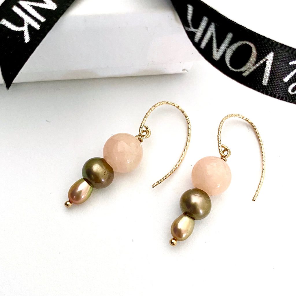 Leoni & Vonk pink jade and pearl gold hook earrings photogrpahed near Leoni & Vonk ribbon