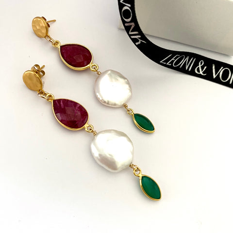 Kyra Ruby, Green Onyx And Keshi Pearl Gold Drop Earrings