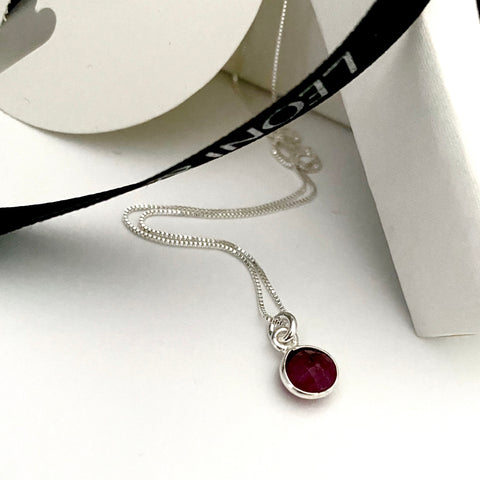 July Ruby Silver Dot Necklace