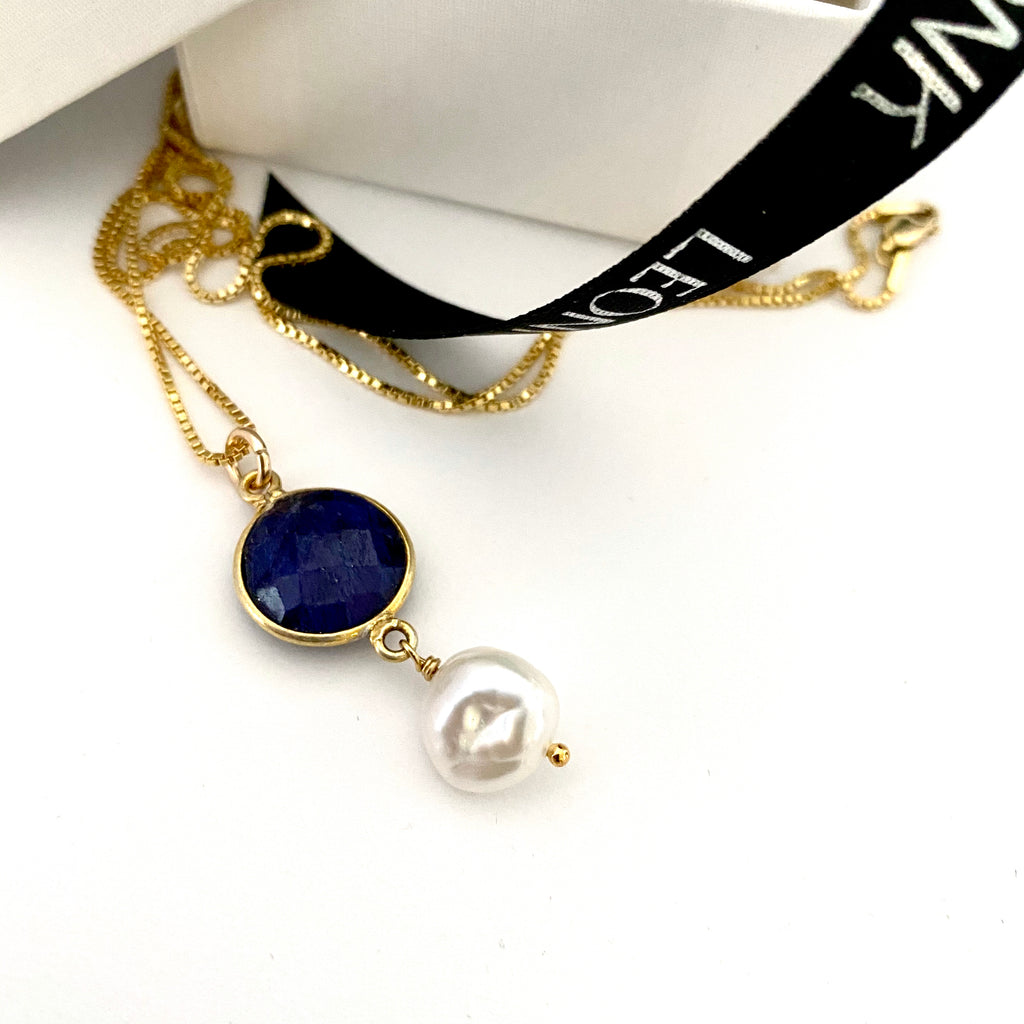 September Sapphire Keshi Pearl Gold Drop Necklace