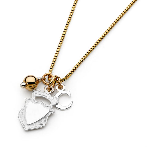 Leoni & Vonk shield of love personalised initial necklace photographed on a white background