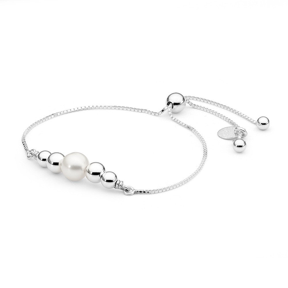 Leoni & Vonk sterling silver and white pearl friendship bracelet.