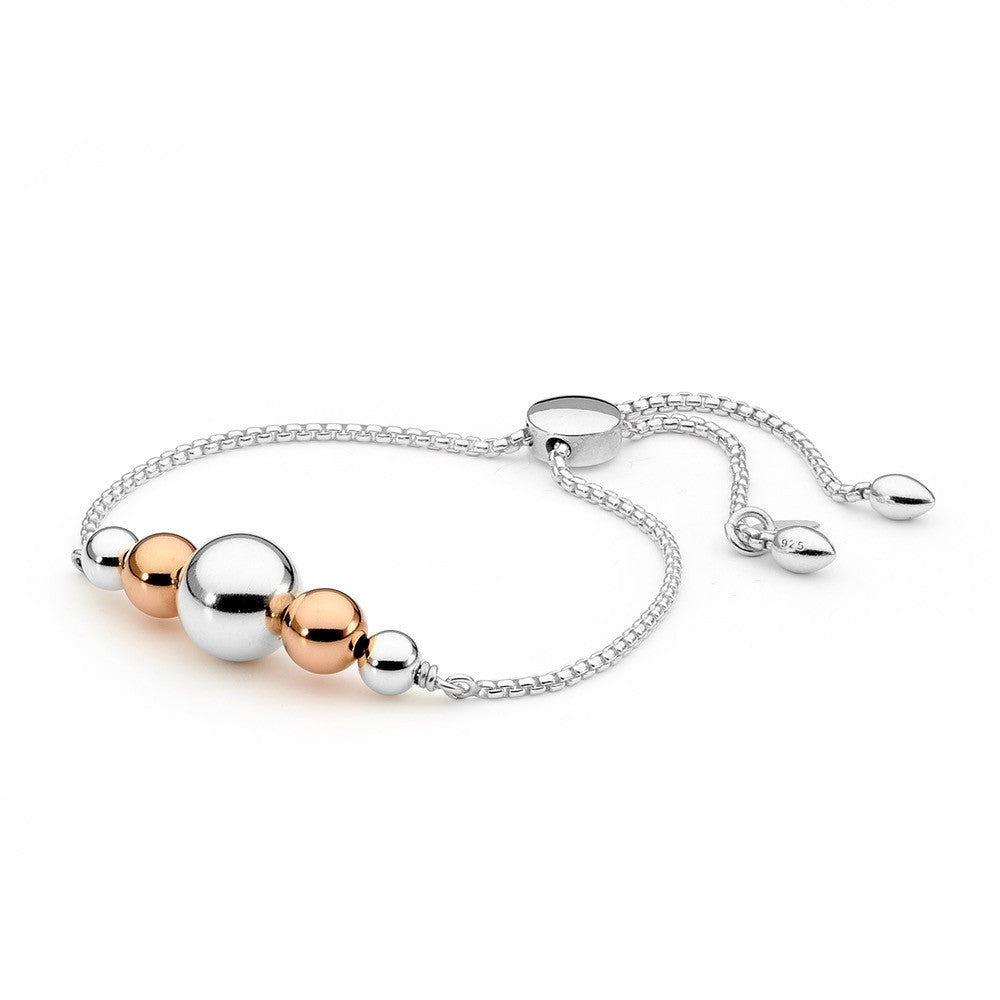 Sterling Silver And Gold Fill Large Ball Sliding Bracelet