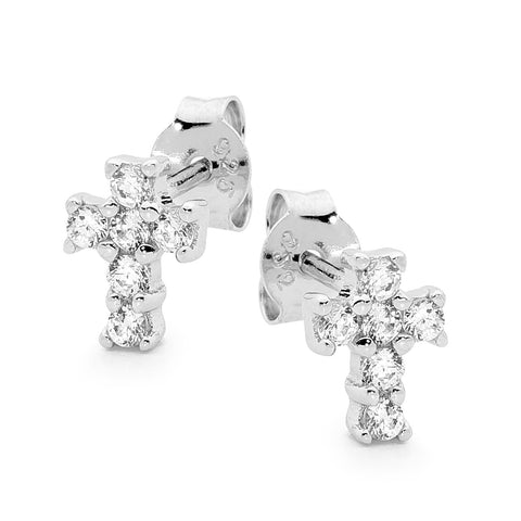 Leoni and Vonk sterling silver and cubic zirconia cross stud earring