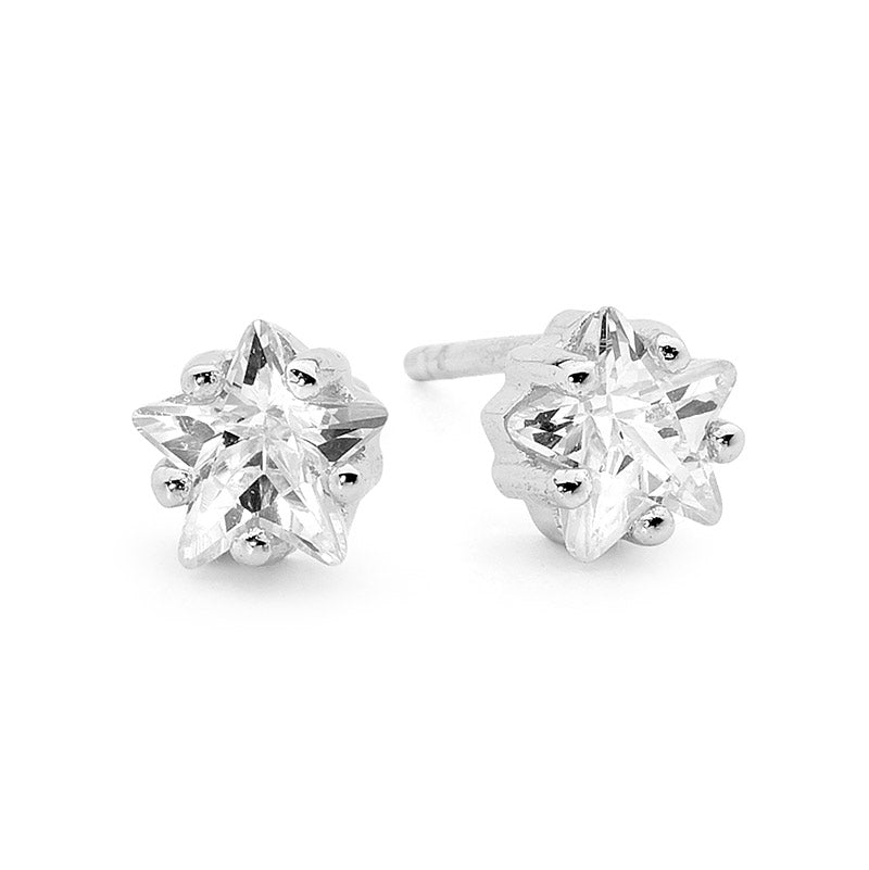 Leoni & Vonk sterling silver and cubic zirconia star stud earring
