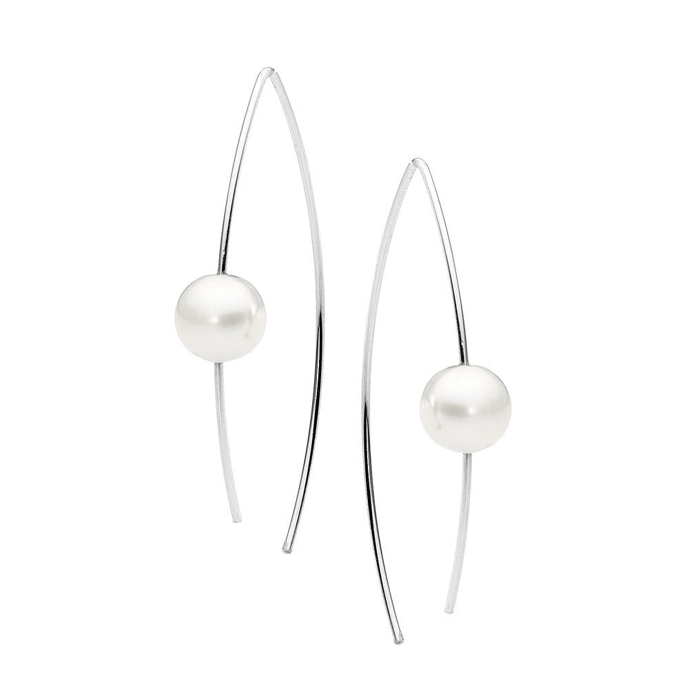 Sterling Silver And Pearl Ear Wire Earring - Leoni & Vonk