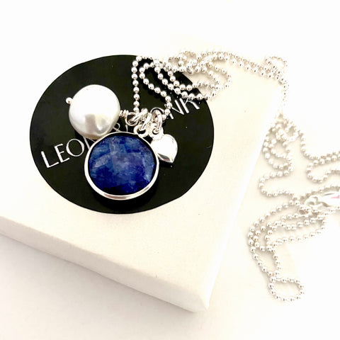 September Sapphire Pearl Silver Charm Necklace