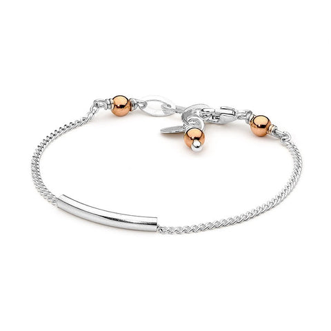 Leoni & Vonk Sterling silver sliding tube bracelet with 14kt rose gold fill beads.