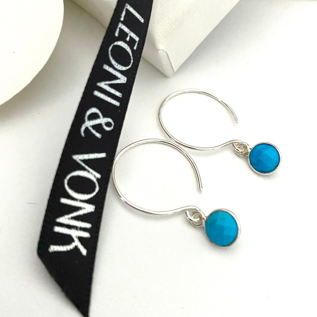 December Turquoise Silver Hoop Earrings