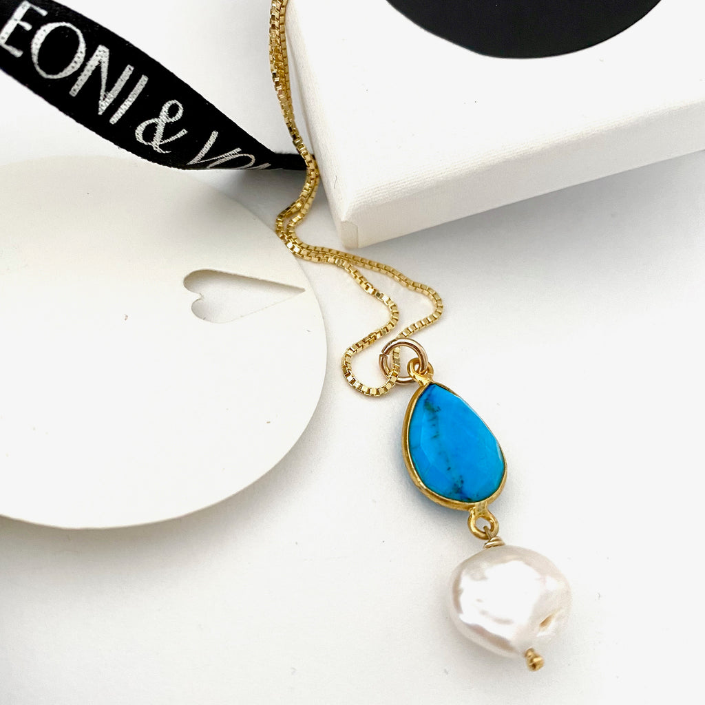 December Turquoise Keshi Pearl Gold Drop Necklace