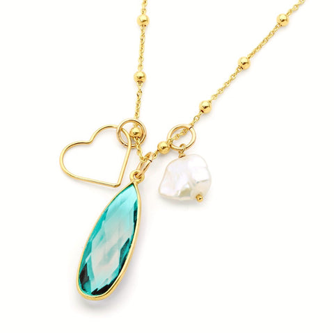 Leoni & Vonk Aqua quartz, keshi pearl and heart necklace photographed against a white background