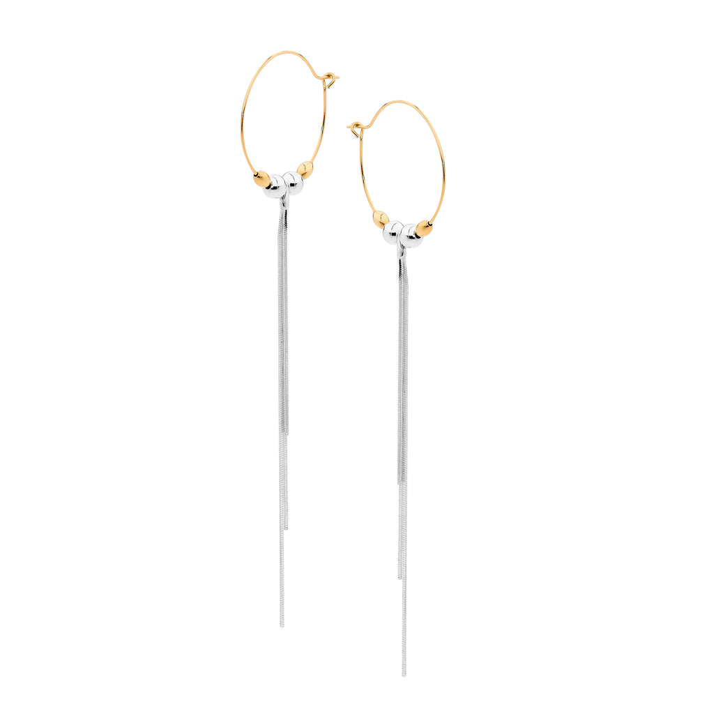 Leoni & Vonk Melissa gold hoop and silver tassel earrings photographed against a white background