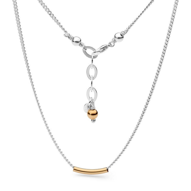 Leoni & Vonk Sterling silver and fine 14kt gold fill sliding tube necklace. A beautiful, delicate necklace perfect for layering with other necklaces.