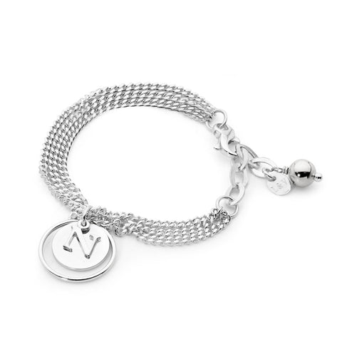 Leoni & Vonk sterling silver eclipse initial bracelet