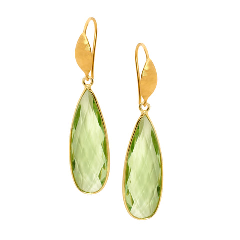 Leoni & Vonk green amethyst and gold earrings with a white background