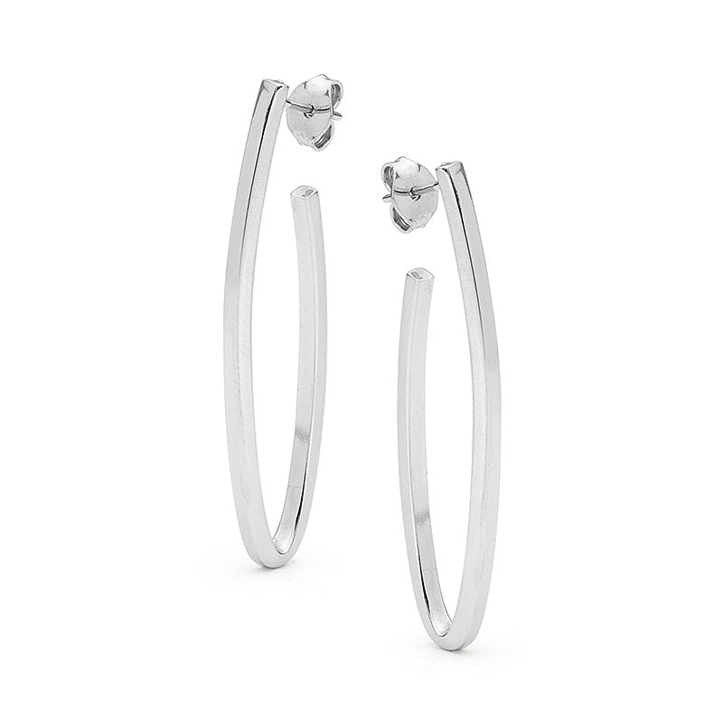Sterling Silver Bar Hoop Stud Earrings