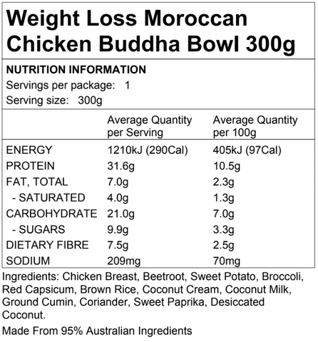 Weight Loss Moroccan Chicken Buddha Bowl 300g