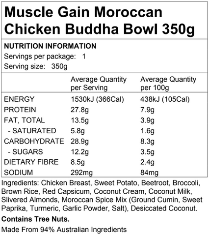 Muscle Gain Moroccan Chicken Buddha Bowl 350g
