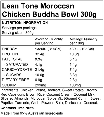 Lean Tone Moroccan Chicken Buddha Bowl 300g