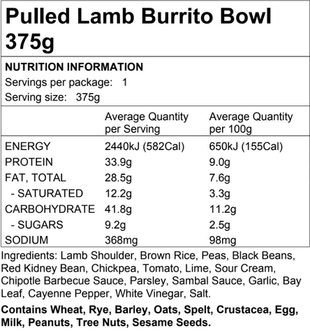 Pulled Lamb Burrito Bowl 375g