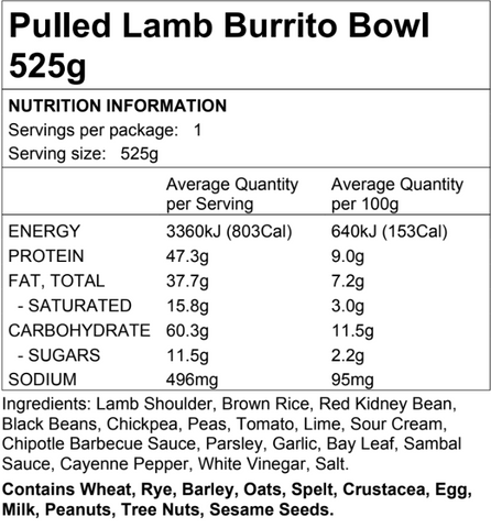 Pulled Lamb Burrito Bowl 525g