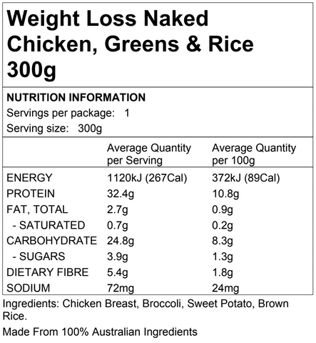 Weight Loss Naked Chicken, Greens & Rice 300g