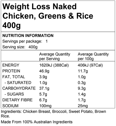 Weight Loss Naked Chicken, Greens & Rice 400g