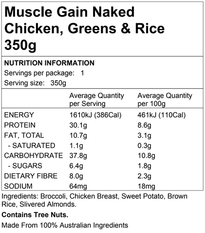 Muscle Gain Naked Chicken, Greens & Rice 350g