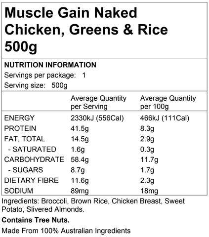 Muscle Gain Naked Chicken, Greens & Rice 500g