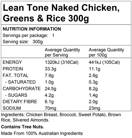 Lean Tone Naked Chicken, Greens & Rice 300g