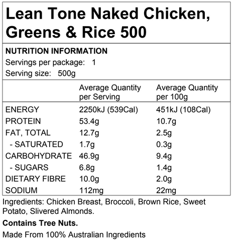 Lean Tone Naked Chicken, Greens & Rice 500g