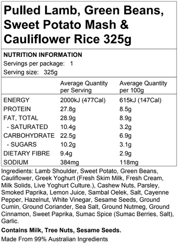 Pulled Lamb w Cauliflower Rice Sweet Potato 325g