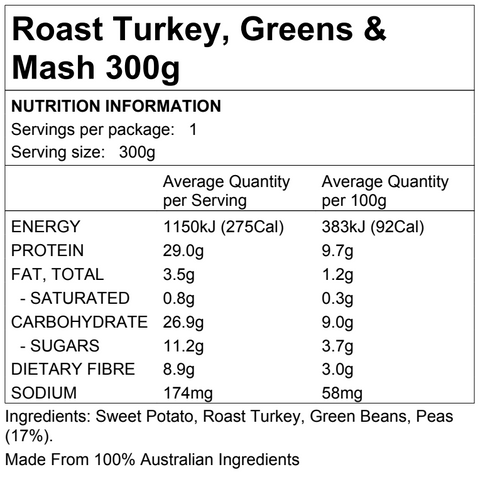 Roast Turkey, Greens & Mash 300g