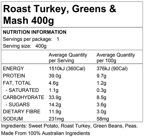 Roast Turkey, Greens & Mash 400g