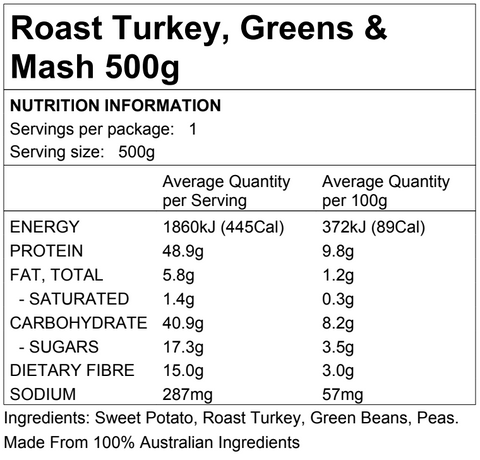 Roast Turkey, Greens & Mash 500g