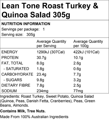 Lean Tone Roast Turkey Quinoa 305g
