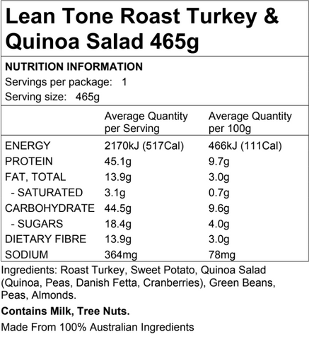 Lean Tone Roast Turkey Quinoa 465g