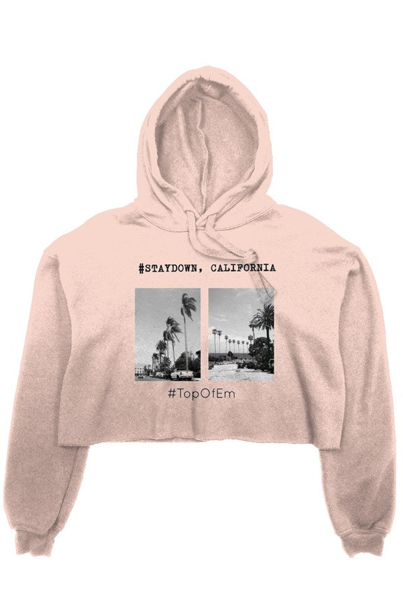 STAYDOWN, CALIFORNIA LADIES CROP TOP HOODIE