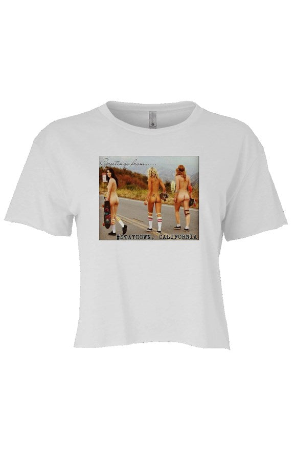 WOMENS SKATEBOARD CROP TOP T-SHIRT WHITE
