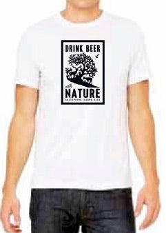 Mens Drink Beer With Nature T-Shirt - White Fleck