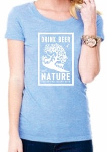 Womens Drink Beer With Nature T-Shirt - Blue