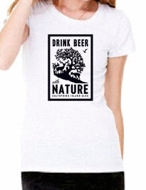 Womens Drink Beer With Nature T-Shirt - White Fleck