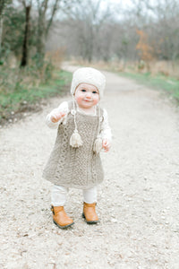 Baby Cable Dress - 100% Organic Hand-Knit Merino Wool