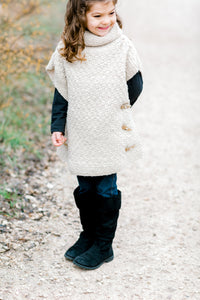 Girls Side Button Tunic - 100% Organic Hand-Knit Merino Wool, with Cow Horn Toggles